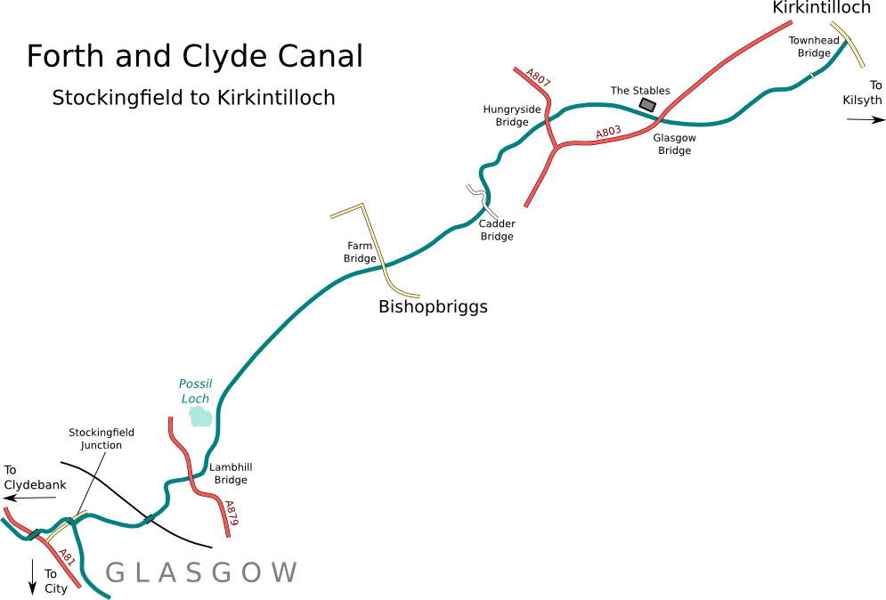 The Forth and Clyde Canal: Glasgow to Kirkintilloch: http://www.jamescanalpages.org.uk/forthclyde3.php